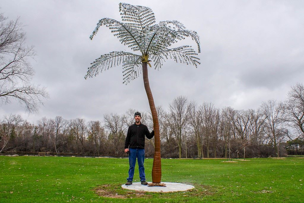 "Metal sculpture titled ""Palm Tree"" created by David Windey"